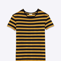 Saint Laurent SHORT SLEEVE POCKET T Shirt IN Black And Mustard Striped Cotton Jersey | ysl.com