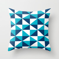 Geometric Pattern 4-Blue  Throw Pillow by mollykd