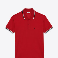 Saint Laurent CLASSIC POLO SHIRT IN Red, Black And White PIQUÉ COTTON | ysl.com