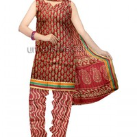 PR2320-Unstitched maroon color handloom narayanpet cotton salwar kameez