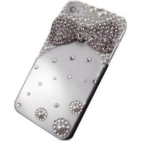 3D Crystal Bling White Pearl Diamond Bow Rhinestone Case Cover for Iphone 4 4G 4S Made with Swarovski Elements: Amazon.co.uk: Electronics