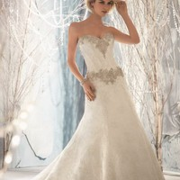 Embellished Strapless Lace Gown by Bridal by Mori Lee