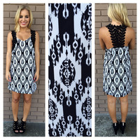 Black & White Crochet Embroidered Strap Dress
