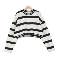 Embossed Striped Crop Sweatshirt