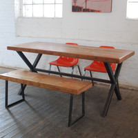 Industrial Modern X Frame Reclaimed Wood Table