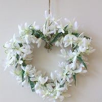Snowdrop Heart Wreath