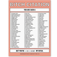 BITCH CITATION NOTEPAD