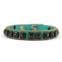ZLYC Unisex Handmade Leather Bracelet with Rivet Mint Blue