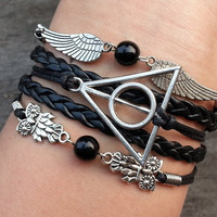 Charm Bracelet 288: Harry Potter Deathly Hallows, Snitch Bracelet, Angel 's wings Bracelet, Owls Bracelet, Leather Braid Bracelet