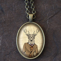 Deer in Glasses Necklace, Fashionable Animal Pendant, Deer Necklace, Oval Pendant (1615B)