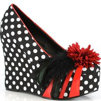 """Edna"" Wedges by Bettie Page™ Shoes (Black/White)"