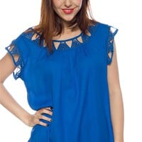 Intricate Intensity Short Sleeve Crochet Collar Chiffon Top - Royal