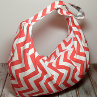 Coral Hobo Bag - Summer Beach Bag - Slouchy Bag - Over the Shoulder Bag - Large Zipper Purse - Chevron Bag