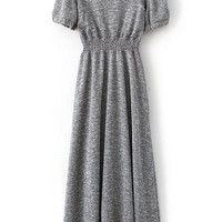 ROMWE Pleated Elastic Grey Maxi Dress