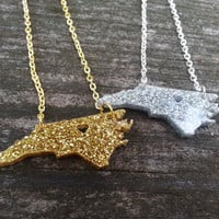 Petite North Carolina (or any state) necklace with GLITTER acrylic!
