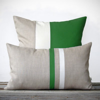 Kelly Green Pillow Set | 12x20 Stripe + 20x20 Colorblock by JillianReneDecor | Spring Summer Home Decor | Emerald Green