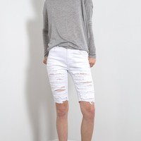 Destroyed Burmuda Jean Shorts | MakeMeChic.com