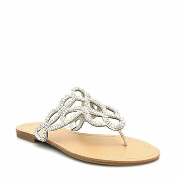 Teardrop Cut-Out Thong Sandals