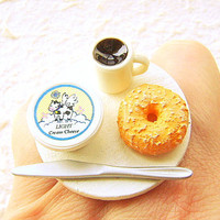 Coffee Food Ring Bagel Cream Cheese Miniature by SouZouCreations