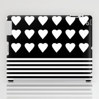 Heart Stripes White on Black iPad Case by Project M