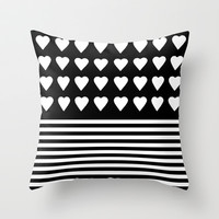 Heart Stripes White on Black Throw Pillow by Project M