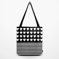Heart Stripes White on Black Tote Bag by Project M