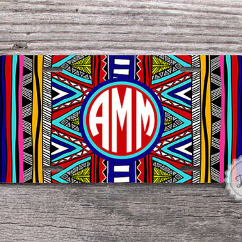 Bright tribal aztec license plate with circle monogram metal front car tag - sweet 16 gift
