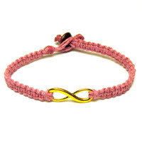 Gold Tone Infinity Bracelet, Light Pink Macrame Hemp Jewelry for Best Friends or Couples - Free North American Shipping