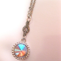 Peach Salmon Swarovski Element Crystal Necklace