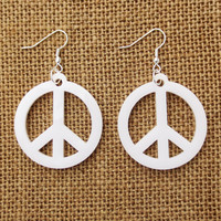 White Peace Sign Earrings Free Fhipping Laser Cut Wood Peace Earrings Clear Blue Black Yellow Cherry Gray Red Pink Blue Green Yellow Purple