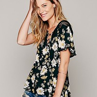 Free People Short Sleeve Printed Open Back Tunic