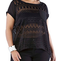 Plus-Size Burnout Top - Rainbow