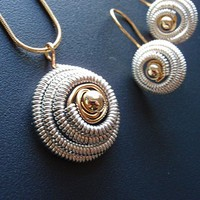 Silver, Gold Spiral Necklace, Earring Set | GildedOwlJewelry - Jewelry on ArtFire