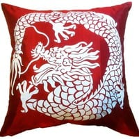 "Artiwa Asian Throw Decorative Silk Pillow Cover with Dragon 18""x18"" (Red / Cream) - Gift for Christmas Recommend"