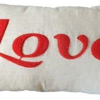"Decorative Special Embroidery ""LOVE"" Throw Pillow COVER 20x12"" Red"