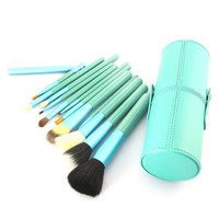 12pcs Makeup Brush Set Eyeshadow Lip Foundation Powder Comestic Tool Comestic Brush Makeup Set+cup Holder Leather Case