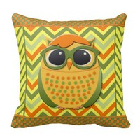 Cute Yellow, Orange, Green Owl on Chevron