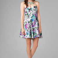 MONTICELLO STRAPLESS FLORAL DRESS