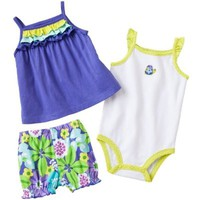 Carters Girls Newborn-12 Months Purple Turtle 3 Piece Diaper Set
