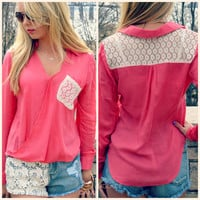 Prairie Grove Coral Cross Over Blouse