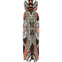 Orange animal print cut out maxi dress - cover-ups - swimwear / beachwear - women