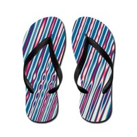 Red White and Blue Abstract Stripes Flip Flops