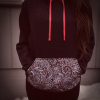 Black, red and white paisley print pocket hoodie
