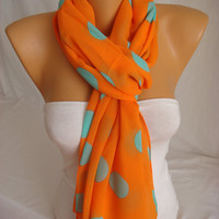 ON SALE Orange Scarf Mint Scarf Orange Shawl Chiffon Scarf Lightweight Orange, Mint Polka Dot Scarf, Shawl Spring Scarf Summer ESCHERPE