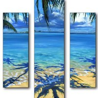 Stupell Home Triptych Panel Wall Art, Palm Tree Shadows, 19 by 17-Inch Triptych