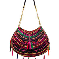 Pia Pauro Embroidered Bag With Tassels in Navy from REVOLVEclothing.com
