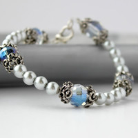 Elegant Faux Pearl and Glass Beaded Bracelet with Scroll Design - Handmade Gray and Blue Jewelry - Bridesmaid Gift - Ready to Ship