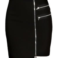 Zip Instinct Skirt | Edgy Black Asymmetrical Zipper Skirt | Rickety Rack