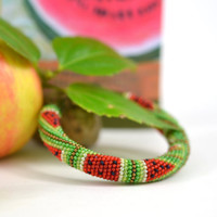 Fruit Shop - Watermelon Bracelet Beaded Bracelet Bead Crochet Bracelet Green Red Multi-Colored Colorful Minimalist Beadwork Jewelry