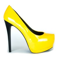 Fahrenheit Patent faux leather Color Block Heels in Mango @ Ippolitan.com